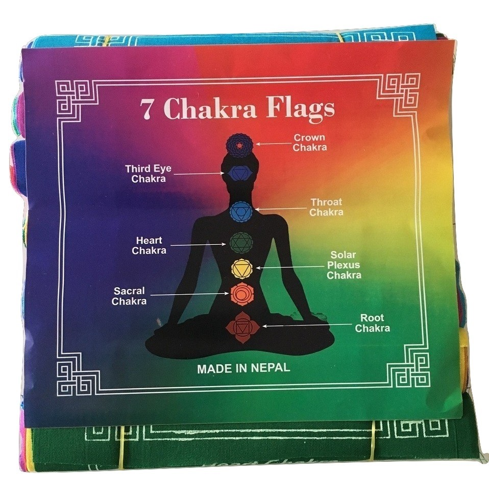 100% Cotton Healing Chakra Affirmation Flags 7Mantras/7 Flags FREE SHIPPING Australia Wide Only