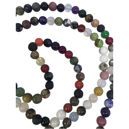 Mala Necklace Multi Gemstone 108/8mm Prayer/Meditation Beads