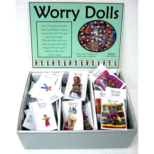 Guatemalan Hand Made Worry Dolls for a Peaceful Night Sleep 3 Size Options