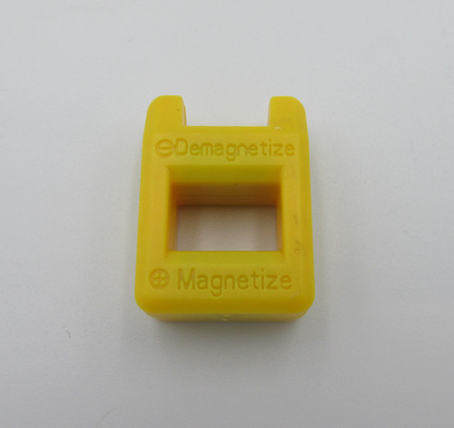 Small yellow magnetizer for magnetizing screwdriver tips for easy screw installations