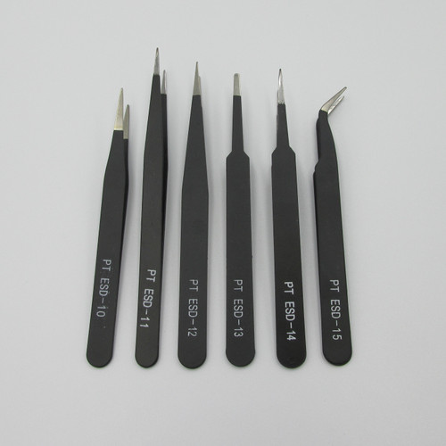 6Pack of ESD Electronics Tweezers  for PCB, Phone & Electronics repair and assembly