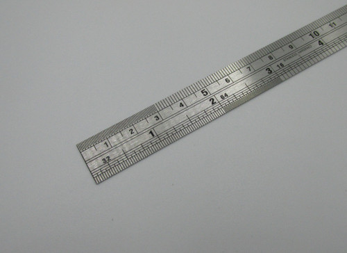 150mm stainless steel ruler with conversion chart on reverse side. Ideal for engineering and hobby work.