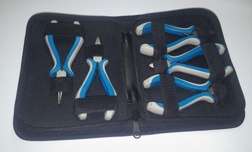 5 Piece mini plier set with storage case. Great for electronics repair