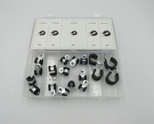 Rubber P-clip Assortment, Assorted Sizes, 18 Pieces. Used for securing wires and cables with a mechanical fastener. Rubber section of clip helps to protect cable.