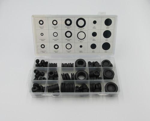 Grommet Assortment In Plastic Case, 125 Piece Description: 18 Popular grommet sizes . Supplied in plastic storage case.
