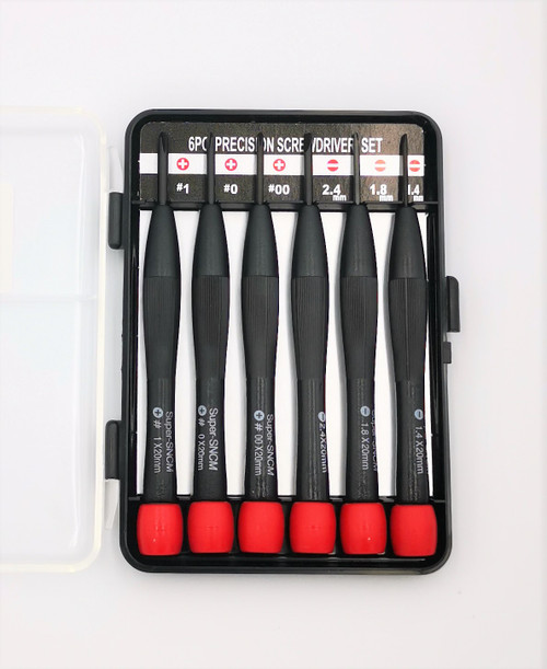 6 Piece Precision Screwdriver Set in case. Used for doing work on small electronics and parts