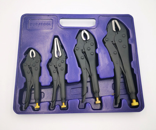 4 Piece Locking Pliers set. Used for clamping and grabbing fasteners
