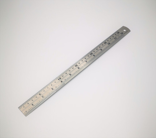 300mm Steel Ruler. Double sided with imperial & metric Graduations and has conversions chart on the back.
