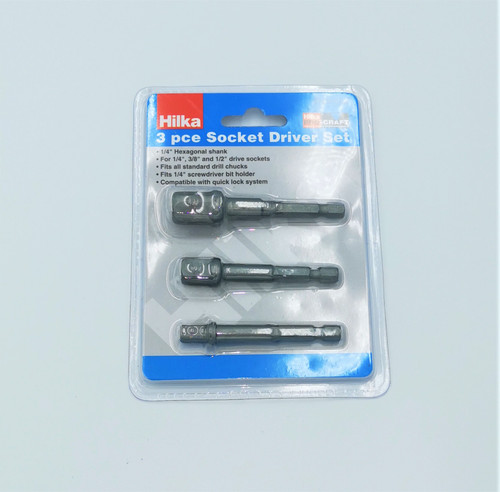 Hilka - 3piece Socket Driver Set. Made from high quality alloy steel great for attaching sockets to your impact driver or drill.