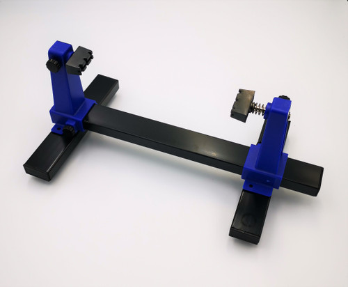 PCB Holder made from steel with rubber feet to hold your circuit boards secure while inspecting and soldering. Boards can be rotated 360degrees