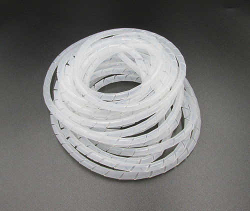 6mm White Spiral Flex / Wire Wrap - 5metres Long. Used for bundling wires together to make a tidy loom.