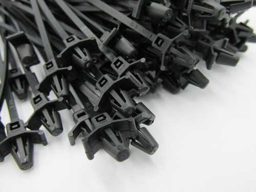 High Quality Push Mount Black Cable Ties, 100mm x 2.5mm (100pack). These are commonly used in automotive applications for attaching looms to a hole in the panels.