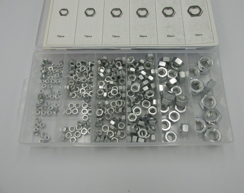 300piece Hex Nut Assortment Set. Zinc Plated Nuts from M3 to M10 inside of a convenient plastic storage case.