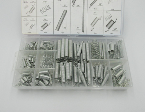200piece Spring Assortment Set inside of a convenient plastic storage case. Handy pack for mechanical repairs around the home or workshop.