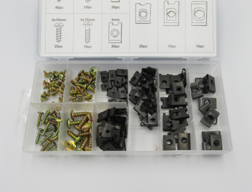 170piece Screw And U-Clip Assortment containing 9 popular sizes in convenient plastic storage case. These are commonly used on automotive panels and trims.