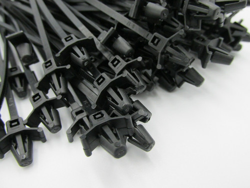 High Quality Push Mount Black Cable Ties, 123mm x 3.5mm (100pack). These are commonly used in automotive applications for attaching looms to a hole in the panels.