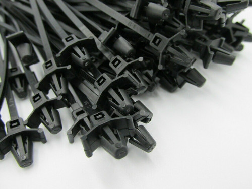 High Quality Push Mount Black Cable Ties, 120mm x 4.8mm (100pack). These are commonly used in automotive applications for attaching looms to a hole in the panels.