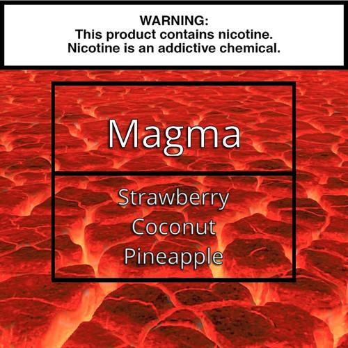 Magma. Strawberry vape juice. Pineapple vape juice. Coconut vape juice.