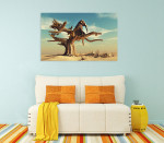 Elephant In Surreal Landscape Art Print on the wall