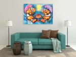Fish With Umbrellas Canvas Print on the wall