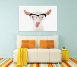 Goat In Glasses Canvas Art Print on the wall
