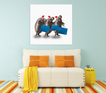 Hippos Shopping Canvas Art Print on the wall