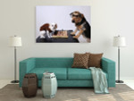 Playing Chess Wall Art Print on the wall