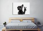 Posing French Bulldog Canvas Art Print on the wall