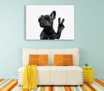 Posing French Bulldog Canvas Art Print on the wall