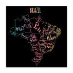 Brazil Map Canvas Art Print