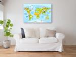 Cartoon World Map Canvas Art Print on the wall
