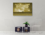 Clouds Of World Map Wall Print on the wall