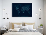 Communications Network Map Canvas Print on the wall