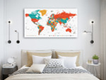 Countries And Cities Map Art Print on the wall