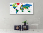 Detailed World Map Of Countries Art Print on the wall