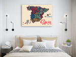 Map Of Spain Wall Art Print on the wall