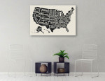 State Names Map Canvas Art Print on the wall