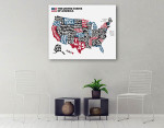 United States of America Map Wall Art Print on the wall