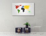 World Map Of Continents Canvas Print on the wall