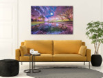 Cherry Blossoms And Moon Wall Art Print on the wall