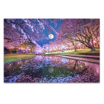 Cherry Blossoms And Moon Wall Art Print