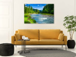 Forest And River Canvas Wall Print on the wall
