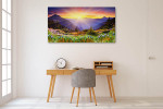 Majestic Sunset in Mountains Wall Print on the wall