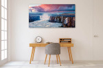 Sunrise Scene Waterfall Canvas Print on the wall