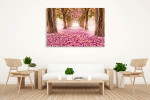 Tunnel of Pink Flower Art Print on the wall