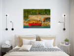 Greek Fishing Boat Canvas Art Print on the wall