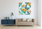 Tropical Leaves And Flowers Art Print on the wall