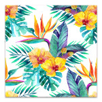 Tropical Leaves And Flowers Art Print