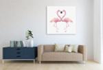 Watercolour Flamingos Canvas Art Print on the wall