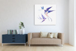 Watercolour Swallows Wall Art Print on the wall